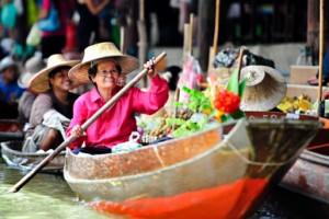 Mercado flotante barco